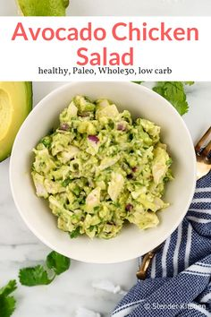 Avocado Chicken Salad - Slender Kitchen This amazing no-mayo chicken salad is made with creamy avocados, cilantro, red onion, and lime juice for a delicious and Paleo frien Mayo Chicken, Avocado Chicken Salad, Chicken Salad Recipes, Potato Salad, Healthy Chicken Salad Recipe No Mayo, Avocado Salad, Weight Watchers Chicken Salad Recipe, Sriracha Chicken, Chicken Salads