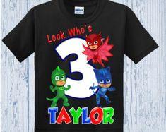 PJ mascarillas cumpleaños camiseta Catboy por ShinyAwesome en Etsy