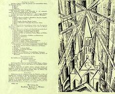 Walter Gropius (Text), manifesto and programme of the Staatliches Bauhaus in Weimar, book plate, private estate © VG Bild-Kunst Bonn, Walter Gropius, Herbert Bayer, Bauhaus Art, Bauhaus Design, Marcel Breuer, Josef Albers, Paul Klee, Wassily Kandinsky, Art Nouveau