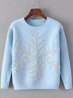Cozy blue Christmas snowflake sweater...the perfect casual outfit for Christmas |  shein.com