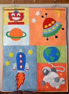 Rocket Into Outer Space Appliqué Baby Boy Quilt by SewSoFunQuilts