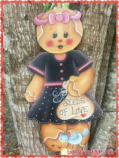 HP Hand Painted Wooden Yard Stake Gingerbread , Lawn Decoration, Yard Art