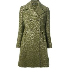 TAGLIATORE jacquard double breasted coat (9,650 MXN) ❤ liked on Polyvore featuring outerwear, coats, jackets, coats & jackets, green coat, tagliatore, long sleeve coat, jacquard coat and double-breasted coat