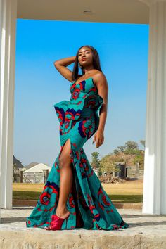 Teal and Red Structured African Print Mermaid Dress | Etsy African Prom Dresses, African Dress, Neon Purple, Teal, Ankara Tops, Ankara Dress, Butterfly Dress, Flowy Tops, African Attire