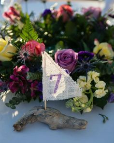 Beach Wedding Decorations/ Hand Painted Driftwood Sailboat Table Numbers/ Custom Personalized