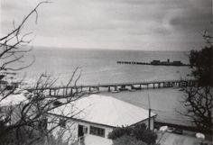 Digital Photograph - View of Pier & Wreck of HMVS Cerberus, Half Moon Bay, 1955 Black Rock, Black And White, Half Moon Bay, Cerberus, Family Album, Big Family, Still Image, Photograph, Digital