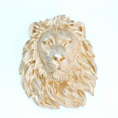 Gold Lion Head Wall Mount - Faux Taxidermy