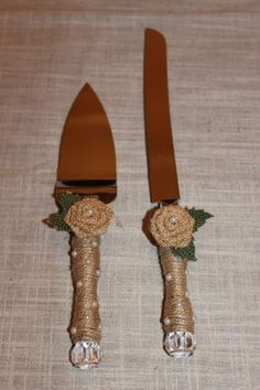 Rustic wedding cake/ knife server set clear, handcrafted,stainless steel #Handcrafted