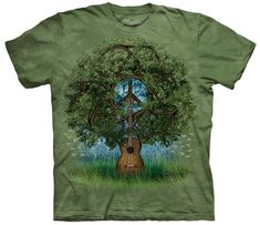 Peace Sign Shirt Tie Dye T-shirt Guitar Tree Adult Tee Peace T-shirts - Basic Peace Sign Available in Small, Medium, Large, XL, & Officially Dye Shirt, Tie Dye T Shirts, Peace Sign Symbol, Tshirts Online, Classic T Shirts, Tees, Mountain, Products, Gift Ideas
