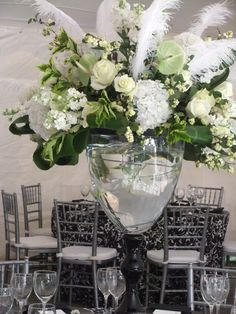 Tall centerpieces..whitehall wedding ..black and white..