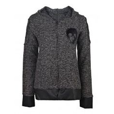 Stylish Hooded Skull Printed Faux Leather Spliced Zip Up Hoodie For Women from $21.31 by NASTYDRESS