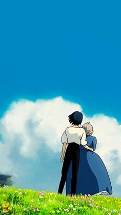 Fio Piccolo — Studio Ghibli couples and blue sky_ Wallpaper Animes, Animes Wallpapers, Cute Wallpapers, Wallpaper Backgrounds, Phone Wallpapers, Kawaii Wallpaper, Wallpaper Desktop, Howls Moving Castle Wallpaper, Howl's Moving Castle