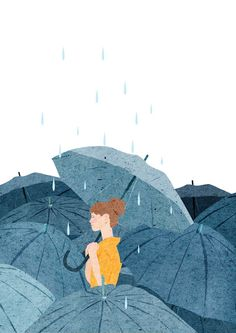 Fondo de pantalla lluvia mujer con paraguas Wallpaper rain woman with umbrella Art And Illustration, Art Illustrations, Sunflower Illustration, Kunst Inspo, Art Inspo, Cover Wattpad, Anime Kunst, Art Plastique, Aesthetic Art