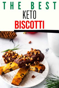On weekends, I like to linger over a cup of coffee. Nothing makes these moments more luxurious than a sweet nibble. This Keto Biscotti is absolutely magical, elevating any quiet moment to something special. Made with almond flour, this easy low carb treat is one of the best ways I know to spoil yourself at home! With chocolate and pecans it is sheer perfection! Healthy Chocolate Desserts, Low Carb Desserts, Best Low Carb Snacks, Keto Snacks, Easy Healthy Recipes, Keto Recipes, Free Recipes, Gluten Free Cookie Recipes, Holiday Recipes