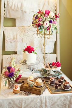 Desert buffet served on pretty antique pieces. Vintage items and styling by Inn on Church / Pastries by The Bakers Box / Floral by Occasions by Emily / Photography by Corey Cagle Photography  #vintage #styledshoot #weddings #innonchurch #dessertbuffet