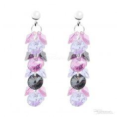 Kolczyki na srebrnych sztyftach z kryształami Silver Night, Rose i Violet - OK8.10 - sklep internetowy Piotrowski