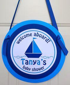 Nautical Baby Shower - Baby Shower Door Sign. $12.00, via Etsy.