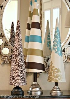 Fabric covered poster board tree cones (The Creativity Exchange)