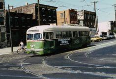 SEPTA PCC air-electric trolley on Rt.60 Allegheny Av.  Phila. 1974