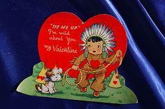Vintage Valentine Boy Plays Indian Lasso with Wire Fox Terrier Dog Nostalgia