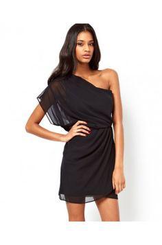 Black One Shoulder Chiffon Dress #celeb16 #bridesmaiddresses