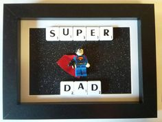 Super dad open scrabble frame by PersonalScrabbleArt on Etsy