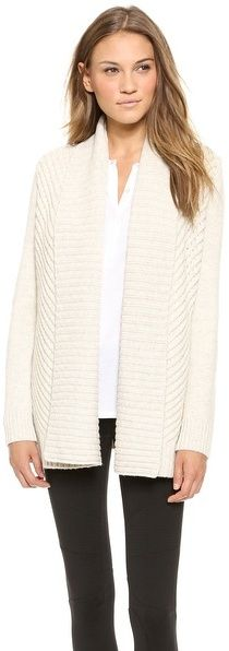 Vince Chevron Shawl Cardigan, Ribbed knit forms a chevron pattern on this open-placket Vince cardigan. Fold-over lapel. Long sleeves.