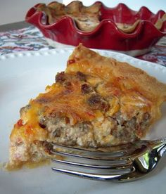 Southwestern Sausage Quiche - sausage, rotel, cheese and eggs - can be made ahead of time and frozen!