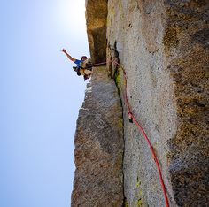 Climbing a new route on Spring Lake Wall in the High Sierra in Sequoia National Park. From @alpinistmag #theclimbinglife
