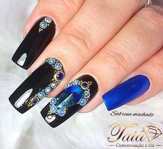 Sexy Nails, Nice Nails, Fun Nails, Nissan, Nail Art, Beauty, Blue Nails, Nail Jewels, Stones