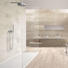 Large Bathroom Design, Large Bathrooms, Bathroom Interior Design, Master Bathroom Designs, Bathroom Ideas, Beige Tile Bathroom, Bathroom Tile Patterns, Polished Porcelain Tiles, Porcelain Floor