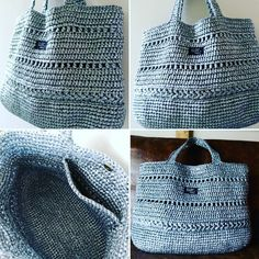 オーダーバッグ完成👜 44×32×18のビッグサイズです。 #スズランテープ#バッグ#ビニール紐 #メタリックバッグ#かぎ針編み #編み物#knitting #crotchet #bag#海#かぎ針