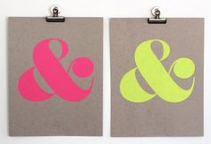 Neon Ampersand Print via Oh So Beautiful Paper: http://ohsobeautifulpaper.com/2013/02/quick-pick-shop-ampersand/ | Design + Photo: Shop Ampersand #neon