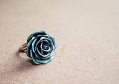 blue silver wax rose ring, polymer clay handmade, cocktail ring by Joyloveclay on Etsy https://www.etsy.com/listing/191734134/blue-silver-wax-rose-ring-polymer-clay