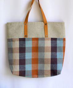 handmade linen and leather bag | ... 74401931 handbag everywhere market linen bag with リネン 製