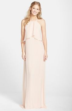 $210, sixes xx small to xx large nouvelle AMSALE Chiffon Halter Gown   Nordstrom