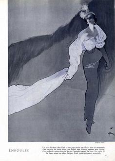 Jacques Fath 1948 René Gruau Fashion Illustration Evening Gown