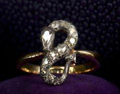 19th Century Diamond Serpent Ring, Modified Mine & Rose Cut Diamonds, Silver, 18K / via Erie Basin