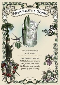 cucumber cooler/rosemary sprig please Tonic Water, Gin And Tonic, Easy Cocktails, Cocktail Drinks, Gin Bar, Hendrick's Gin, Highball Glass, Food Illustrations, Menu