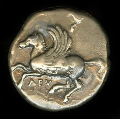 The obverse of a silver coin from Corinth (300-250 BCE) depicting the mythical winged-horse Pegasus. (British Museum, London).