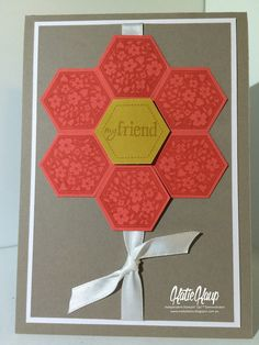 handmade quilt card from Creative Katie Lou ... flower made of stamped and punched hexagons ... luv the tone on tone stamping ... Stampin' Up!