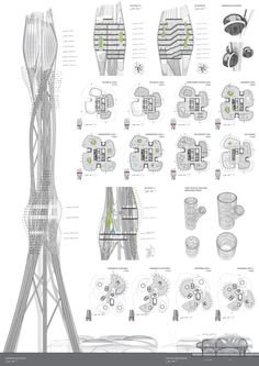 architecture diagram layout _ Taiwan Tower Proposal by Dorin Stefan - Taiwan, China Parametric Architecture, Organic Architecture, Architecture Portfolio, Concept Architecture, Futuristic Architecture, Architecture Details, Architecture Presentation Board, Presentation Layout, Architecture Graphics