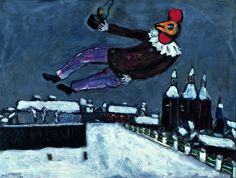 Rooster Man Above Vitebsk, 1925 by Marc Chagall Marc Chagall, Chaim Soutine, Vancouver Art Gallery, Jewish Art, Expositions, First Art, Naive Art, French Artists, Teaching Art
