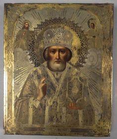 Striking Large 1878 Ornate Oklad 84 Silver Hallmarked Russian Icon | eBay