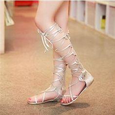 e5377b5f4e68 Gladiator boots cool cutout cross straps lacing flat sandals summer flat  heel boots female boots plus