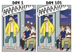 Taking Public Transit: Day 1 vs Day 101 - CollegeHumor Post Cute Gay, Funny Cute, Hilarious, Funny Relatable Memes, Funny Posts, Manado, Funny Images, Funny Pictures, Funny Comments