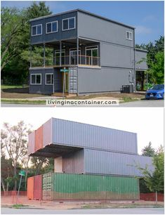Wonderful Veranda Shipping Container House - USA - Living in a Container Building A Container Home, Storage Container Homes, Container Buildings, Container Architecture, Container Houses, Sustainable Architecture, Container Store, Residential Architecture, Contemporary Architecture