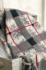 Love the mix of toile and over stitching to create a plaid
