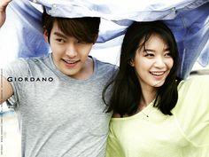 Kim Woo Bin In a recent photo-shoot with actress Shin Min Ah for Giordano's summer wear.