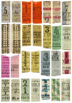Old bus tickets from buses in Buenos Aires. Vintage Prints, Vintage Posters, Vintage Designs, Vintage Type, Vintage Images, Vintage Labels, Vintage Ephemera, Vintage Packaging, Collage